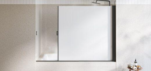 Ausziehbare Duschwand trennt Badewanne ab 520x245