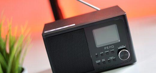 PEAQ PDR 170 BT-B Radio steht nebn einer Pflanze