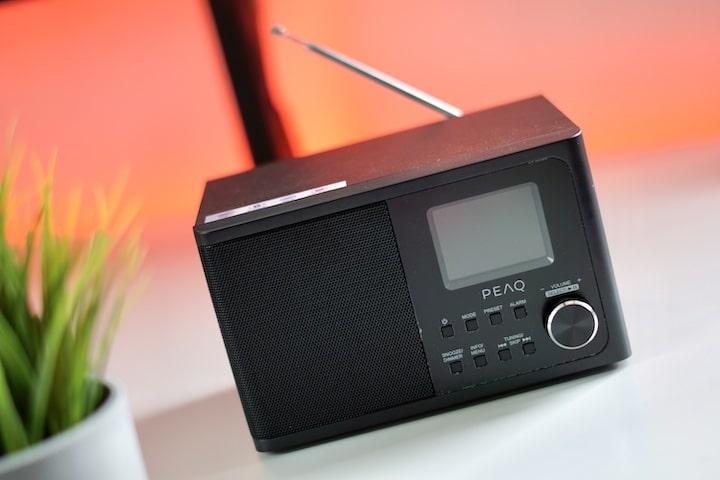 PEAQ PDR 170 BT B Radio steht nebn einer Pflanze