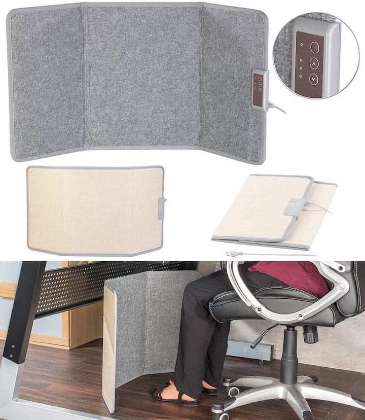 Sichler Infrarot Heizpanel unterm Schreibtisch genutzt