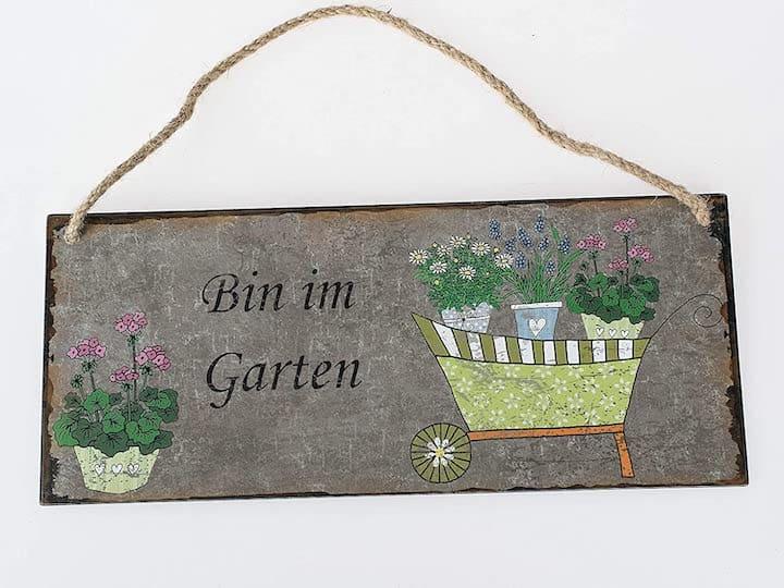 Bin im Garten Schild Metall