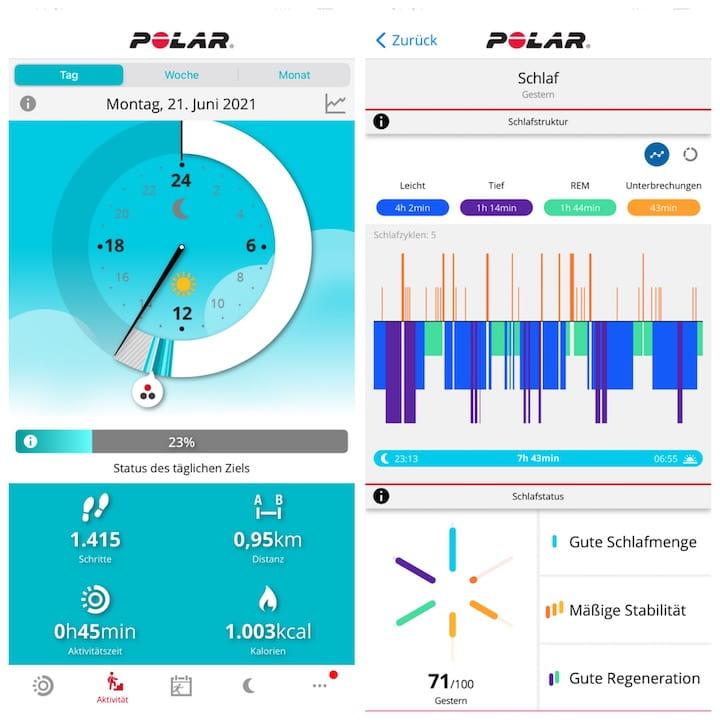 Screenshots Polar Flow iOS App