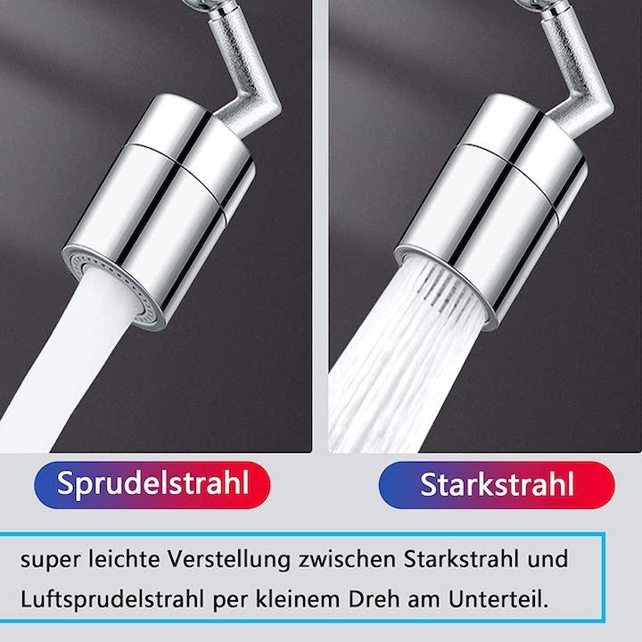 Wasserhahnaufsatz mit verschiedenen Strahlstaerken