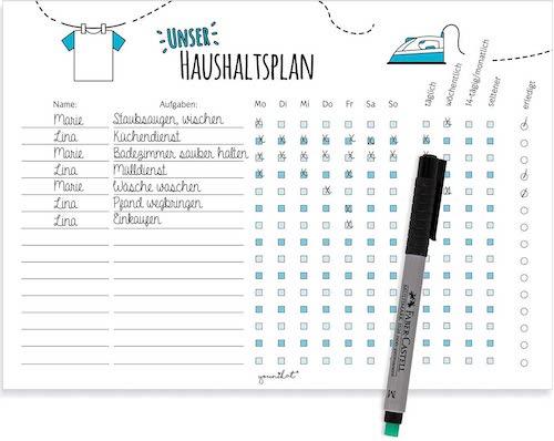 magnetischer Haushaltsplan mit Stift