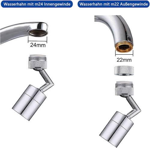 schwenkbarer Wasserhahnaufsatz von Honyear mit verschiedenen Gewinden