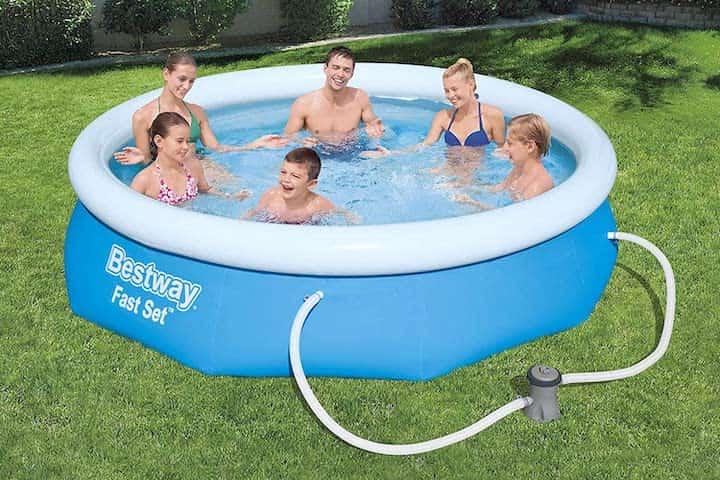 BESTWAY Fast Set Quick Up Pool mit Filterpumpe im Garten