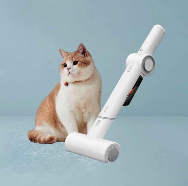 Katze mit Tierhaarentferner