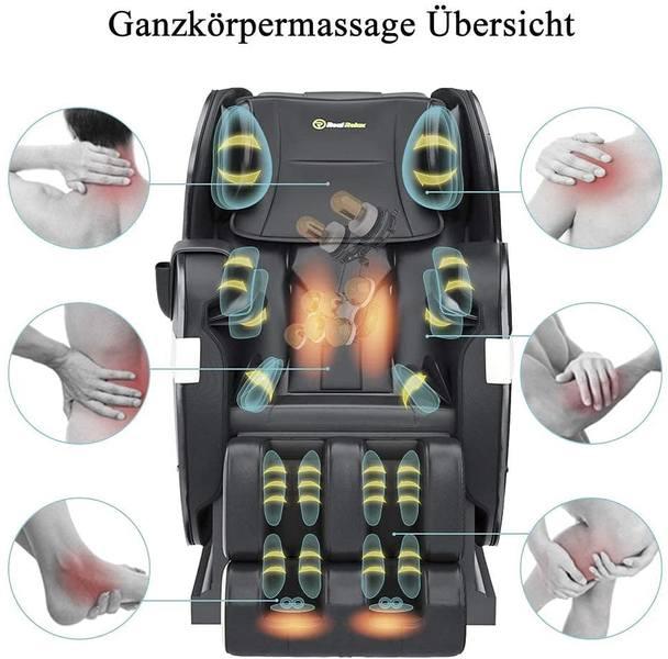 Die Massagezonen eines Massagestuhls
