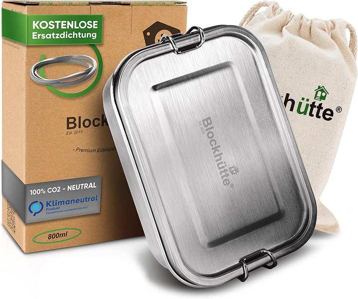 Edelstahl Brotdose mit Stoffsack und Verpackung