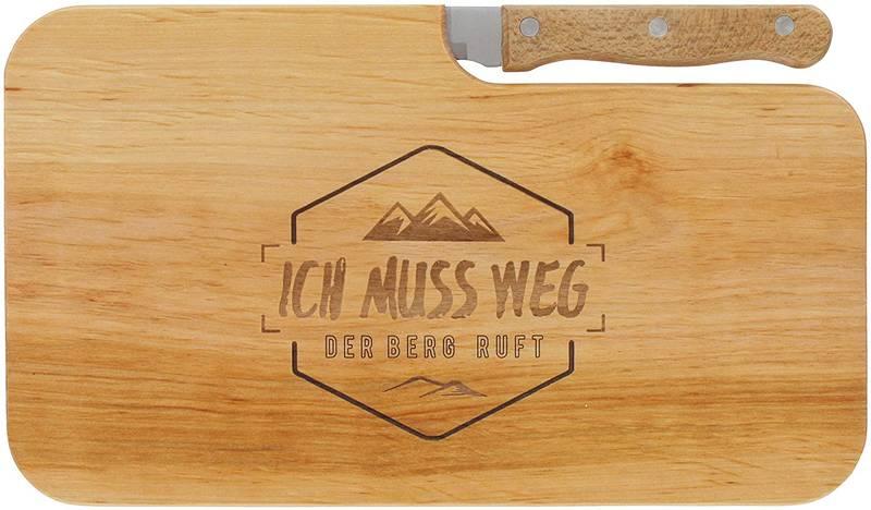 Schneidebrett aus Holz mit Messer und Lasergravur