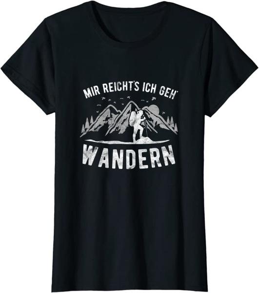 T Shirt mit Aufdruck in Schwarz Mir Reichts Ich Geh Wandern